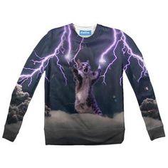 Lightning Cat Youth Sweater by Shelfies Lightning, Youth, Sweatshirts, Cats, Long Sleeve, Fabric, Sweaters, Mens Tops, Fashion