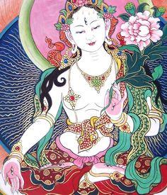 White Tara Tibetan Art, Tibetan Buddhism, Buddhist Art, Buddhism Symbols, Tara Goddess, Tantra Art, Thangka Painting, Buddha Tattoos, Indian Goddess