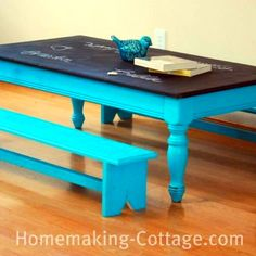 Coffee Table made into a chalk board table for kids!