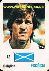 Kenny Dalglish, Liverpool legend, Celtic and Scotland great, on a rare soccer card from Portugal, early 1980s.