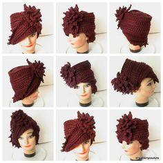 Crochet Hat Women Couture  LAUREN Cloche Hat by strawberrycouture, $40.00