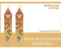 24 Beaded earrings with fringe. Seed Bead Jewelry, Seed Bead Earrings, Etsy Earrings, Heart Jewelry, Seed Beads, Hoop Earrings, Beaded Earrings Patterns, Beading Patterns, Bracelet Patterns