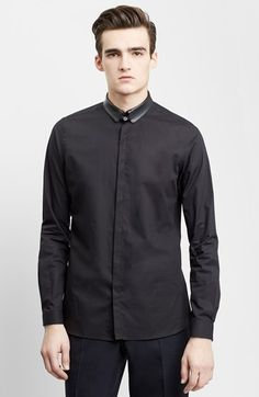Free shipping and returns on The Kooples Trim Fit Leather Collar Dress Shirt at Nordstrom.com. A supple leather collar sets off a sleek, slim-fitting cotton dress shirt styled with a covered button placket to accentuate the smooth, unfettered aesthetic.