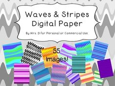 Use this fun waves and stripes digital paper for your personal and commercial products.  55 fun images!