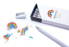 Made from recycled paper, rainbow pencils let you create beautiful paper rainbows when you sharpen them. Rainbow Pencils function like regular wooden pencils, and are the same size and weight, but the Cute Stationary, Cute School Supplies, Fun Office Supplies, Cool Inventions, Interactive Design, Back To School, Gadgets, Projects, How To Make
