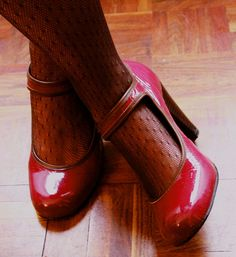 Heart Mary Janes, heart red, heart patent leather.
