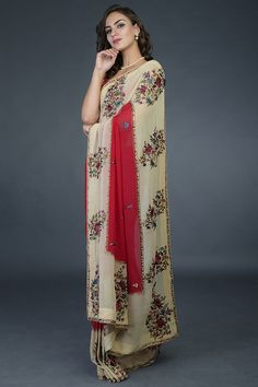 Pre-Order Red-Fawn Floral Parsi Gara Saree Pure Georgette Sarees, Indian Heritage, Product Offering, Occasion Wear, Classic Style, Kimono Top, Pure Products, Couture, Clothes For Women