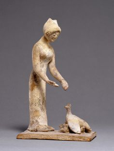 Statuette Group of a Woman Feeding a Hen with Chicks. 500 - 475 B.C. Culture: Greek (Boeotian)
