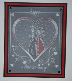 Nested heart plate and Douglas and Lily border Groovi card created by Lindy Lou