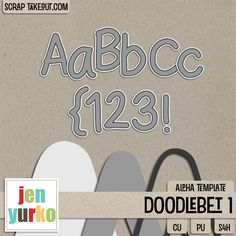 Doodlebet 1 {Alpha Template} by Jen Yurko CU/PU! 25% off for a limited time only! *Previously a part of my Black Friday CU Bag - Please Check Your Stash!*