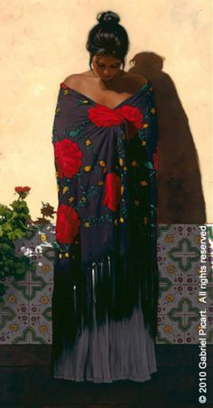 Shawls: Púrpura by Gabriel Picart at Quent Cordair Fine Art - The Finest in Romantic Realism
