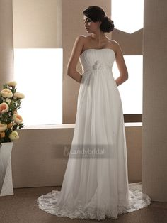 ウェディングドレス エンパイア ビスチェ コートトレーン シフォン レース ビーズ 003180006001