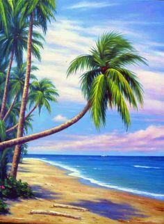 nature and ocean scenes paintings Beach Mural, Beach Art, Tropical Art, Tropical Beaches, Easy Canvas Painting, Canvas Art, Landscape Art, Landscape Paintings, Arte Quilling