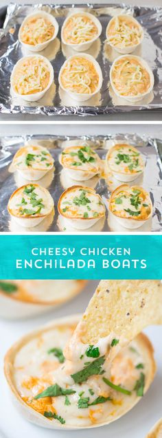 A hand-held dip that you can scoop onto chips, then roll up and eat like a taco? These Cheesy Chicken Enchilada Boats from are absolutely perfect for parties or after-school snacks. They pack all the enchilada flavors you love in Burritos, Cheesy Chicken Enchiladas, Appetizer Recipes, Party Appetizers, Dip Recipes, Lunch Recipes, School Snacks, Fajitas, Mexican Food Recipes