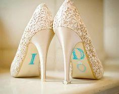 BLEU « I Do » appliques strass chaussures de mariage