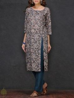 Black-Beige Kalamkari-printed Cotton Kurta by Jaypore Kalamkari Designs, Churidar Designs, Kurti Neck Designs, Kurta Designs Women, Blouse Designs, Kalamkari Kurta, Kalamkari Dresses, Kurta Patterns, Dress Patterns