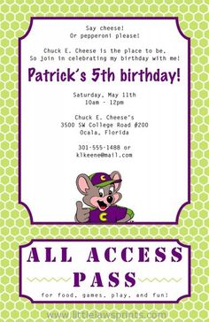 10 best chuck e cheese birthday invitations images on pinterest