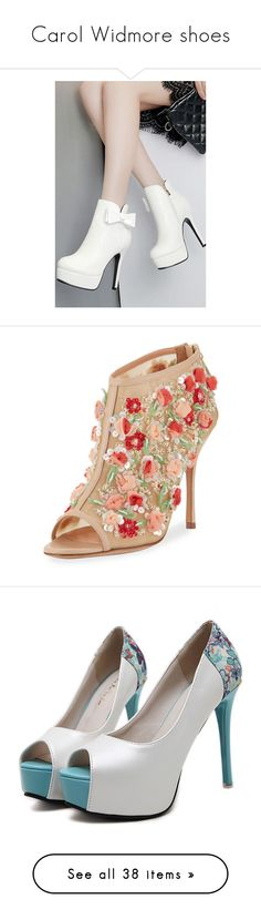 """""""Carol Widmore shoes"""" by julietxmontague on Polyvore featuring shoes, boots, ankle booties, round booties, platform boots, platform ankle booties, white booties, high heel stilettos, heels und nude"""