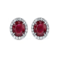 ELEGANT RUBY and DIAMONDS set in Gold Stud by MRGEMSJEWELLERY, £850.00