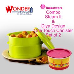 Tupperware Combo Steam it & Diya Design One Touch Cansister Set of 2