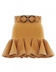 The Zippy Flip Skirt in Caramel from our Spring 2019 Ready To Wear Collection. A fitted mini skirt with exaggerated ruffle flip hem for volume and movement. flip skirt, fitted through waist, contrast top stitching, comes with double buckle belt, fully li Stage Outfits, Kpop Outfits, Teen Fashion Outfits, Kpop Fashion, Fashion Dresses, Cute Outfits, Womens Fashion, Vetement Fashion, Australian Fashion