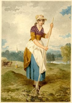 girl in a straw hat with white apron over her skirt, raking hay in a meadow which stretches away to a river r, a church spire rising above woods l, beyond another woman near two horses and a cart. 1800 Watercolour, touched with bodycolour 18th Century Dress, 18th Century Costume, 18th Century Clothing, 18th Century Fashion, Historical Art, Historical Costume, Historical Clothing, Champs Sur Marne, Rustic Outfits