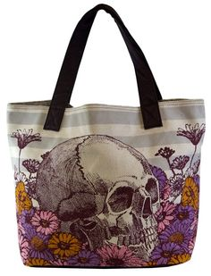 Loungefly Skull and Flowers tote Skull Fashion, Punk Fashion, Lolita Fashion, Skull Purse, Flower Skull, Handbag Accessories, Purses And Handbags, My Style, Skulls