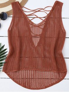 High Low Lace Up Crochet Top - LATERITE Orange Crochet Tank Tops, Crochet Summer Tops, Crochet Tunic, Crochet Clothes, Knit Crochet, Sweater Knitting Patterns, Finger Crochet, Crochet Fashion, Lace Tops