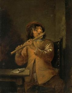 Teniers, David the Younger - Flutist Flute Instrument, Wooden Flute, Hermitage Museum, Oil Painting Reproductions, Sculpture, Old Master, Classical Music, Art Music, Musical Instruments