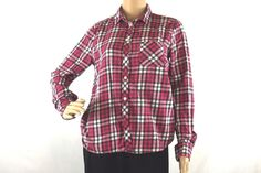 American Eagle Outfitters Pink Black White Plaid Flannel Shirt Women's Sz Medium #AmericanEagleOutfitters #ButtonDownShirt #Casual