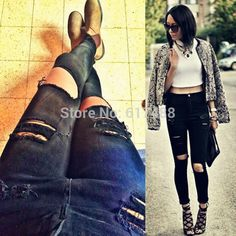 2016 Hot Sale New Fashion Women Casual Black High Waist Torn Jeans Hole Knee Skinny Pencil Pants Denim Ripped Jeans For Womens