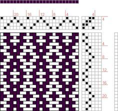 Hand Weaving Draft: Rosepath Ascending, Drafted on . Weaving Designs, Weaving Patterns, Patterned Chair, Hanging Mobile, Graph Paper, Design Seeds, Macrame Knots, Woven Wall Hanging, Weaving Techniques
