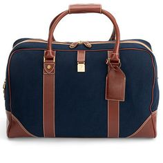 Weekender Travel Bag in Navy Canvas; Smooth Cognac - Aspinal of London - Luxury English Lifestyle.  Travel in style with this bag and your pocket wi-fi from viventeconnect.com #viventeconnect #travel