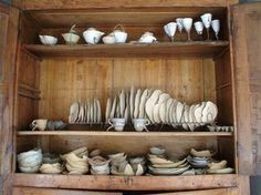 a white porcelain world by Roos Van de Velde China Plates, Plates And Bowls, The Old Curiosity Shop, White China, White Porcelain, China Cabinet, Shelves, Storage, Modern
