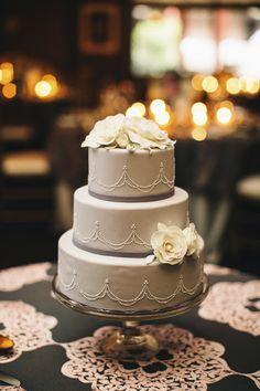 Cream and gray wedding cake by Anne Kathleen Cakes, photo by Vue Photography | via junebugweddings.com