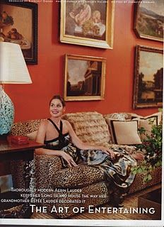Aerin Lauder's persimmon-hued walls a la Bonfire of the Vanities. Tom Wolfe's description of the persimmon hued walls that served as perfect background for Monet's Water Lilies was implanted in my mind forever!