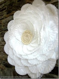 This is the size of a hula hoop.  It is all made from coffee filters. will except for the center lace rosette. Easy and pretty cool. maybe use doily to create a lace look... Perfect for photo backdrop!