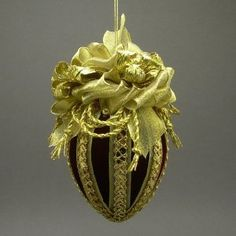 Burgandy and Gold Fabric Easter Egg Ornament