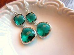 Emerald Green Earrings Silver Two Tier - Sterling Silver Earwires - Bridesmaid Earrings - Wedding Earrings - Bridal Earrings. $32.00, via Etsy.