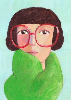 Portrait with glasses     Original Painting by behappynow on Etsy