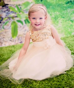 Flower Girl Dress Look at this Gold Sequin Tulle A-Line Dress - Infant, Toddler & Girls Sequin Flower Girl Dress, Cheap Flower Girl Dresses, Wedding Dresses For Girls, Tulle Dress, Girls Dresses, Bridesmaid Dresses, Dress Wedding, Bridesmaids, Toddler Flower Girls