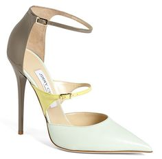 "Jimmy Choo ""Sunday"" Ankle-Strap Pumps in Keylime/Lemon/Pebble"