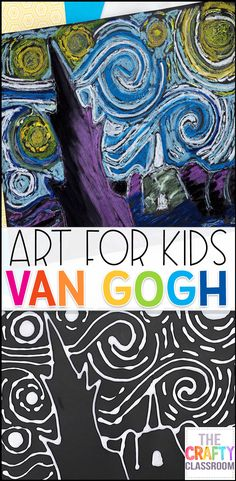 Van Gogh Art Project for Kids Van Gogh Art Project for Kids! Create this Starry Night Masterpiece with your students! This Van Gogh inspired Art Project for Kids uses simple materials you already have in your art supply closet. Free Step-by-Step video and Art History Projects For Kids, Art Projects For Adults, Toddler Art Projects, Art History Lessons, Art Lessons For Kids, Art Lessons Elementary, Art For Kids, Artwork For Kids, Simple Art Projects