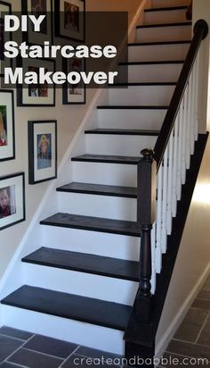 DIY Staircase Makeover is easier than you may think. Paint staircase risers and stain stair treads for a brand new look. Update a carpeted staircase. Black Stairs, White Staircase, Stairs With White Risers, Painted Staircases, Painted Stairs, Staircase Makeover, Staircase Ideas, Railing Ideas, Staircase Design