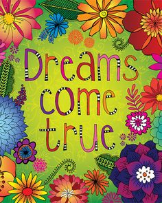 Dreams Come True, Doodle Art by Lori Siebert, Flower Art, Bright Color, Whimsical, Mixed Media, Lori Seibert on Etsy, $19.62 AUD