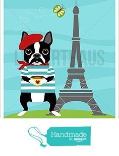 12D - Boston Terrier Dog with Red Beret in Paris UNFRAMED Wall Art Print by Lee ArtHaus from LeeArtHaus https://www.amazon.com/dp/B017Y2BTTC/ref=hnd_sw_r_pi_dp_pjuDyb4HN6M1F #handmadeatamazon