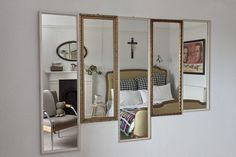 mix of thrifted bathroom mirrors