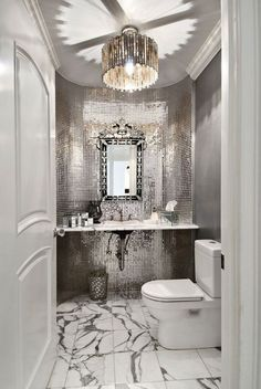 Traditional Powder Room with Powder room, Bisazza JTC-1309 Bathroom Silver Glass, Complex marble counters, Drop-In Sink