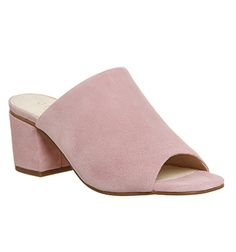 Office Madness Block Heel Mules Pink Suede - Mid Heels