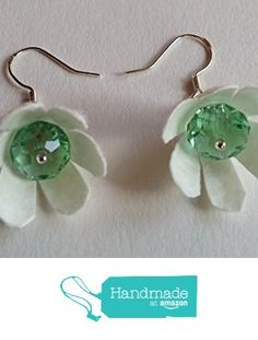 Daisies - silver sterling hooks earrings of natural white silk cocoons and green crystals http://www.amazon.com/dp/B01CH5QUP4/ref=hnd_sw_r_pi_dp_eD31wb0Z0P54B #handmadeatamazon
